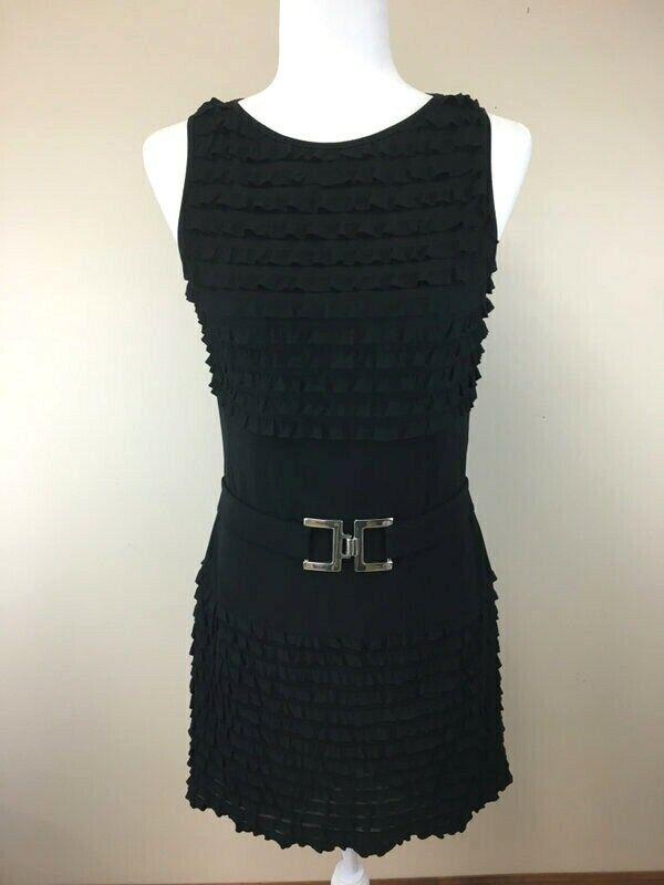 Joseph Ribkoff damen US 10 schwarz Tierot Ruffle Belted Dress
