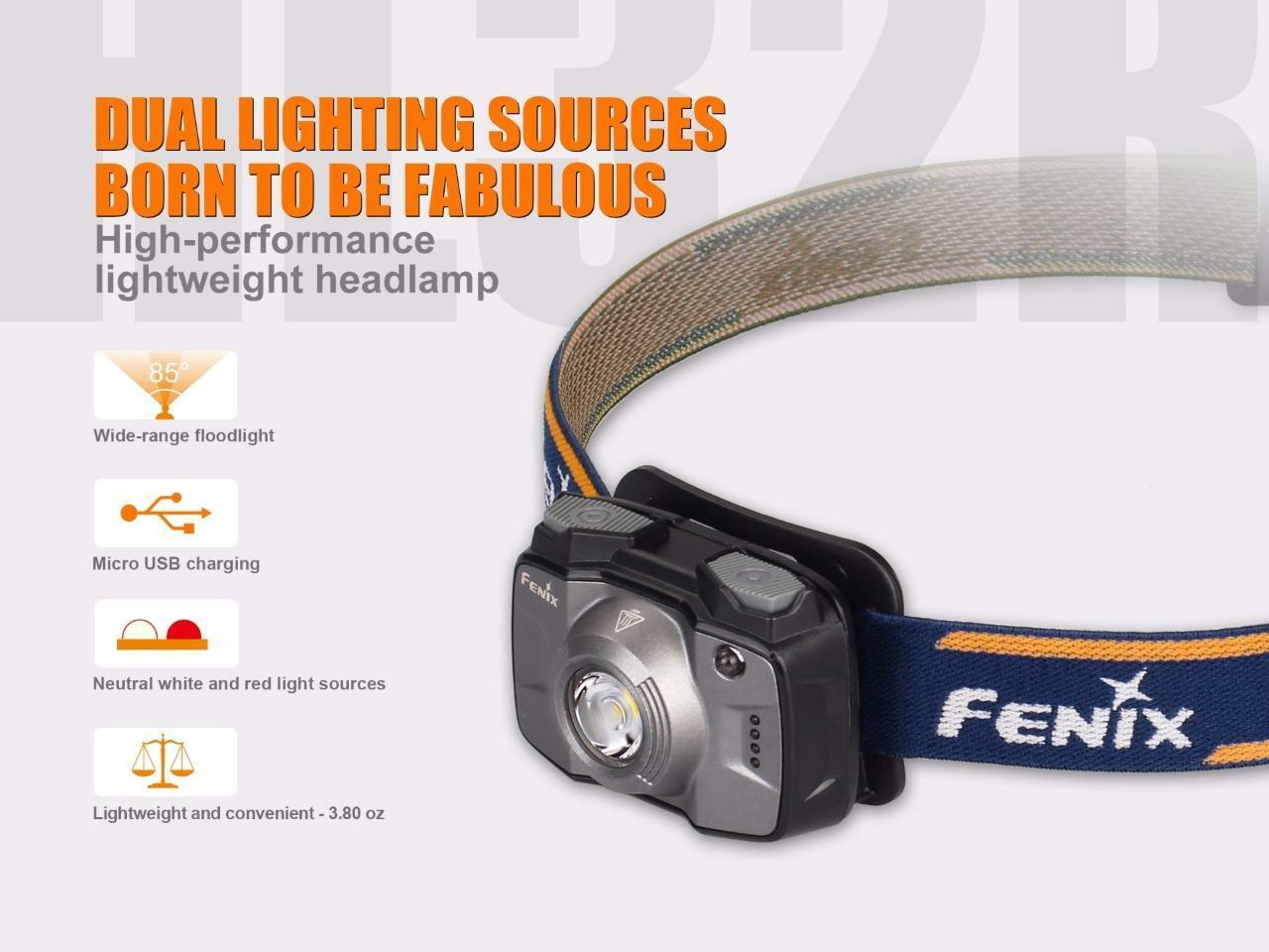 Fenix HL32R HL32R Fenix 600 Lumen  Weiß + ROT LED USB Rechargeable Battery Headlamp (Blau) caecff