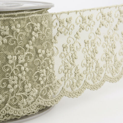 S3734 La Stephanoise 75mm Floral Embroidery on Tulle Lace Ribbon