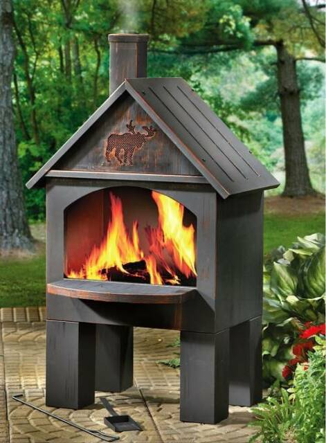 Outdoor Patio Deck Fire Pit Chiminea Cabin Cooking Fireplace BBQ Grill Wood  Oven - Outdoor Patio Deck Fire Pit Chiminea Cabin Cooking Fireplace BBQ