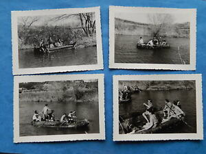 lot de 4 PHOTOS SCOUT SCOUTISME barque bateau nautique