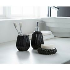 3 Piece Black Textured Edge Bathroom Set Soap Dispenser  Dish Tumbler