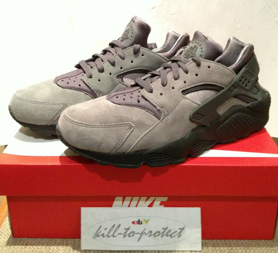 NIKE HUARACHE LE COOL Gris Sz US UK7 8 9 10 11 12 Triple noir Suede 318429-082