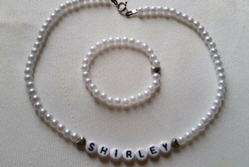 New SHIRLEY TEMPLE PLAYPAL Name Necklace Set *HEARTS* handmade