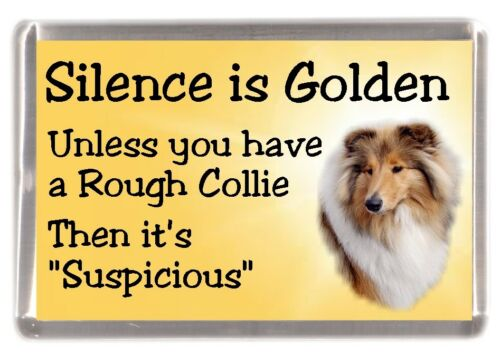 "Sable Rough Collie Dog Fridge Magnet /""Silence is Golden ......../"" by Starprint"