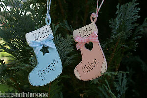 Personalised-Babys-1st-first-Christmas-2016-Stocking-tree-decoration-hand-made