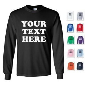 PERSONALIZED-CUSTOM-PRINT-YOUR-OWN-TEXT-ON-A-LONG-SLEEVE-T-SHIRT-TEE-MEN-039-S
