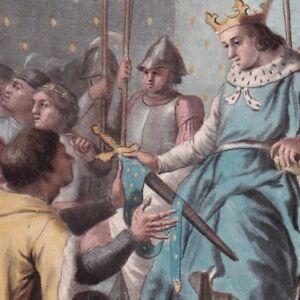 Gravure-XVIIIe-Charles-V-Connetable-Du-Guesclin-Guerre-Succession-de-Bretagne