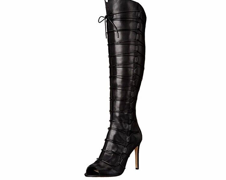 Vince Camuto Kesta Peep Toe Black Leather Knee High Boot 6
