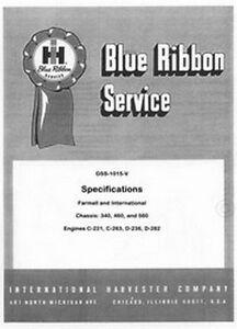 farmall international 340 460 560 specs service manual ebay rh ebay com Shop Manuals 1404 Busch R5 0063 Service Manual