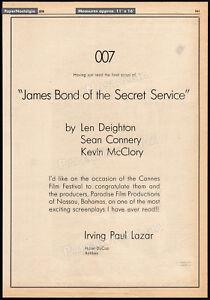 JAMES BOND OF THE SECRET SERVICE_/_WARHEAD__Original 1976 Trade AD / poster__007