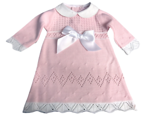 d813535c1 Image is loading baby-girl-Knitted-Dress-Spanish-Style-Bow-Dress