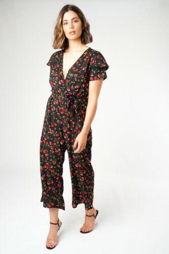 Women Ladies New Frill Black//Red Floral V Neck Belt Palazzo Jumpsuit UK 8-14