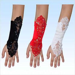 Brauthandschuhe Nele gemustert Satin Fingerlos Handschuhe  weiß, rot, schwarz