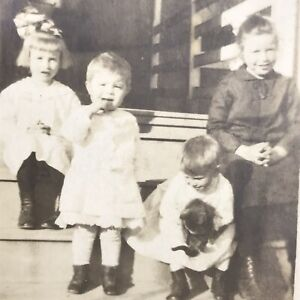 Kids Dog on Steps Porch Old Original Photo BW Vintage Photograph House Grandma
