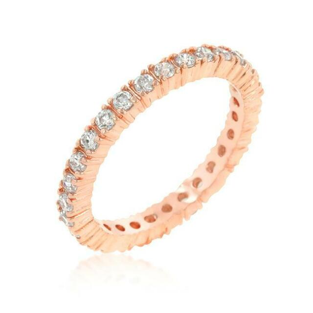 2.5 TCW 18k Rose Gold CZ Delicate Eternity Stackable Wedding Ring Band Size 8