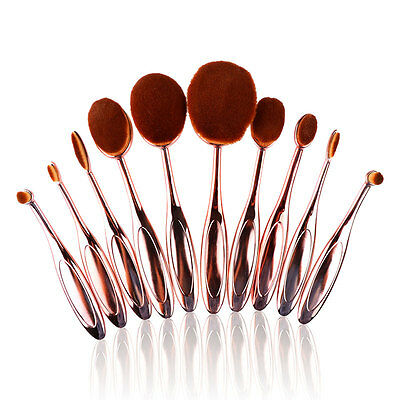 10Pcs Toothbrush Oval Make up Brushes Set Powder Foundation Contour Rose Gold
