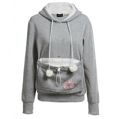 Unisex Long Sleeve Hoodies Pouch Pet Dog Cat Hooded Pullover With Ears