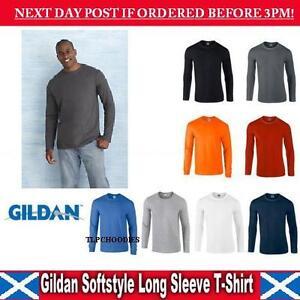 GILDAN-SOFT-Style-Manica-Lunga-T-Shirt-da-uomo-spedizione-rapida-con-sede-nel-Regno-Unito-GD011