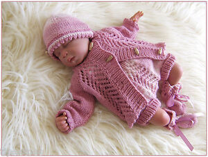 Free Knitting Patterns For Dogs Coat : Baby Knitting Pattern DK 26 TO KNIT Girls Cardigan Hat Pants Booties Reborn D...