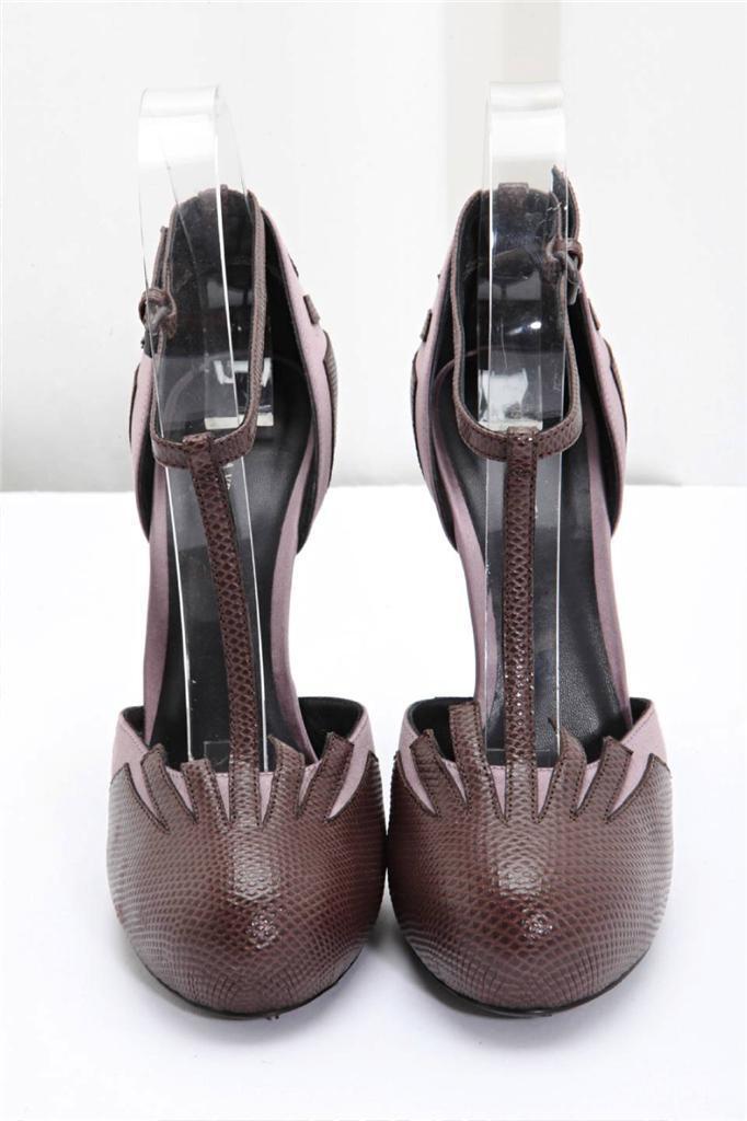 Bottega Veneta Mujer Mujer Mujer Marrón Lagarto + Morado Raso Correa T Tacón Alto Zapatillas 92bd01
