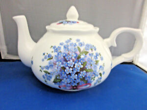 BLUE-FORGET-ME-NOT-FINE-BONE-CHINA-MADE-ENGLAND-by-ADDERLEY-TEAPOT-6-CUP-44oz