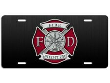 Firefighter License Plate - Maltese Cross FD Vanity Auto Tag Car Truck