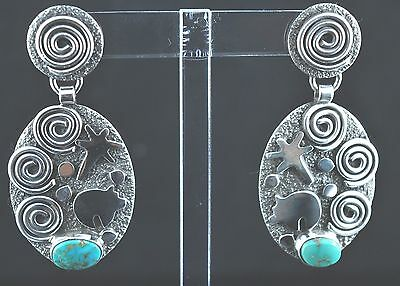 Sterling Silver Navajo Petroglyph Oval Turquoise Mountain Earrings Alex Sanchez
