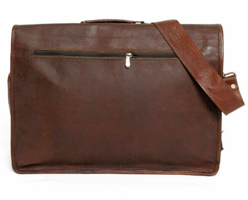 Pure Leather Messenger Bag Laptop Distressed Brown Satchel Extra Large Briefcase