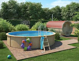 isidor caspian holzpool pool mit stahlwand inkl kartuschen filterpumpe 460x90cm ebay. Black Bedroom Furniture Sets. Home Design Ideas