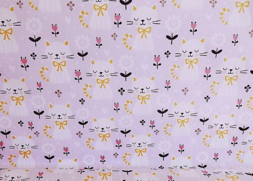 SOLD PER METRE Polycotton Fabric LILAC KITTEN CAT ANIMAL  Material CRAFTS