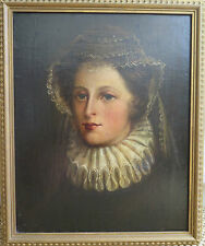 Early Portrait of a 17th c Lady in Waiting. Antique Oil Painting