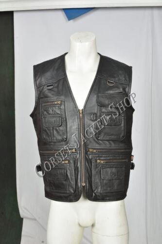 Men's Vest 12 Waistcoat Leather Zip Total Closure amp; Genuine Pockets Lv4 Black Hrqw0vH