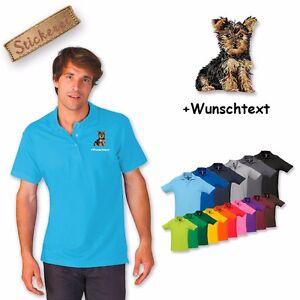 Polo Shirt Coton Broderie Chien Yorkshire Terrier 1 Texte Personnalisé