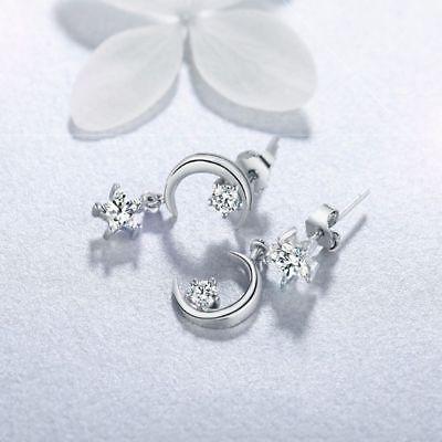 Dangle Drop Moon Star Tassel Earrings Austrian Crystal Wedding Jewelry