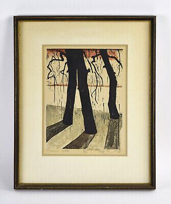 1954 Mid-Century Modern Japanese Woodblock Print Long Shadow Trees signed #\u2019d