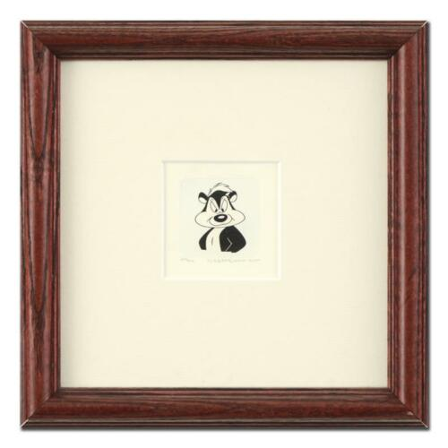 """Pepe Le Pew"" Framed Limited Edition Etching with HandTinted Color and Numbered"