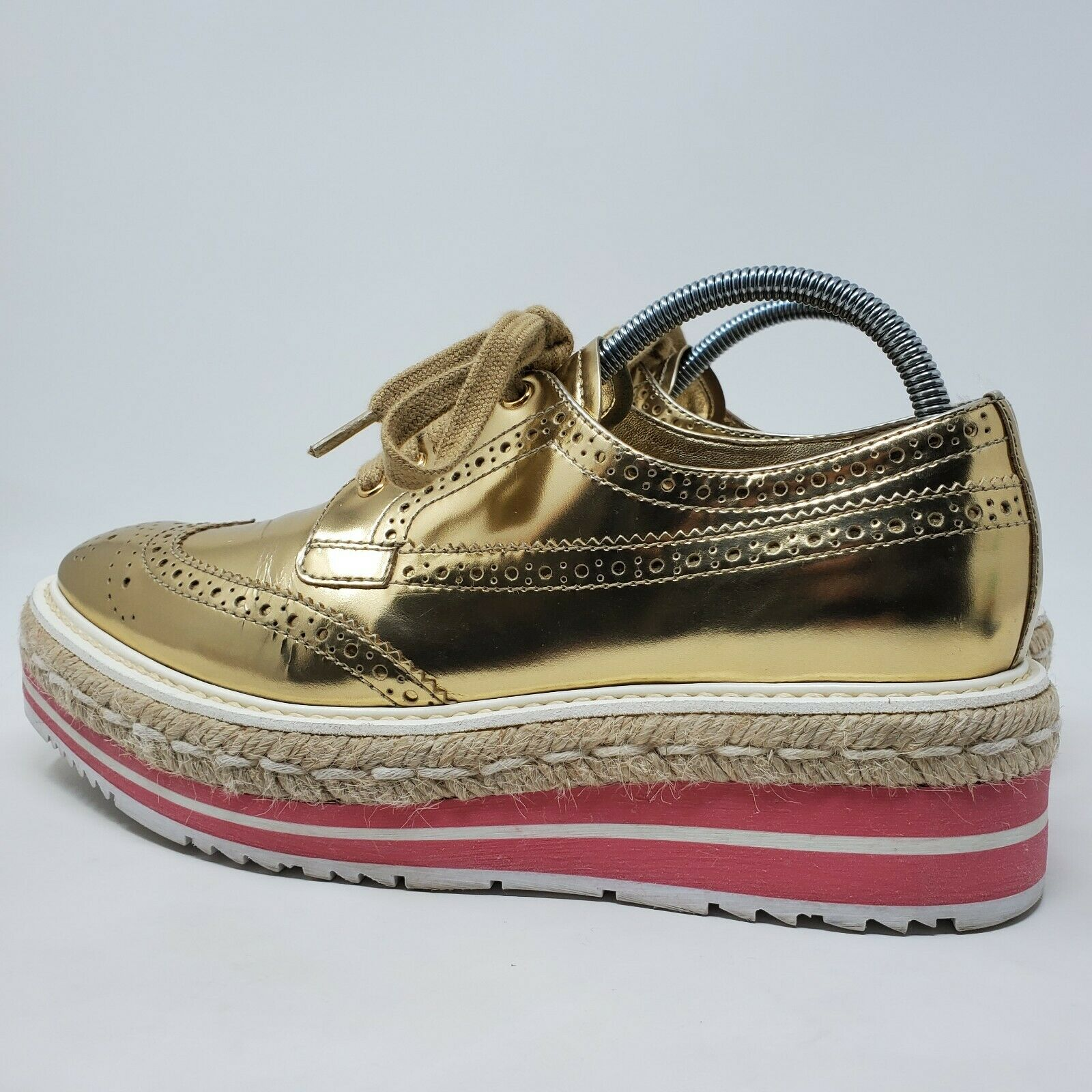 PRADA espadrille oxford shoes gold brogue pink pl… - image 5