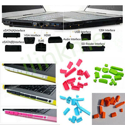 2 x sets 13pcs Silicone Anti Dust Port Plugs Cover for Laptop Notebook