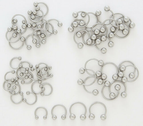 D31 10pk Steel Ball Circular Barbells Wholesale Horseshoe Eyebrow Belly Rings