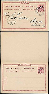 German South West Africa 1901 Reply Paid Stationery 10pf Vfu Keetmanshoop Tothun