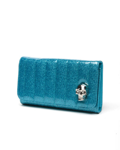 Lux de Ville Lady Vamp Wallet Villain Blue Sparkle Rockabilly Hot Rod