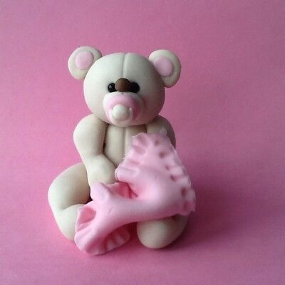 Cake Topper. Edible Baby Girl Teddy Bear Christening Birthday Baby Shower