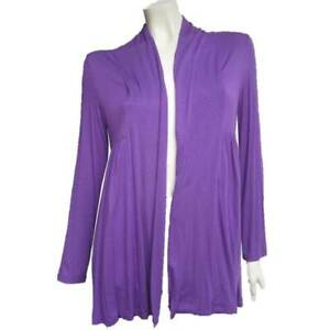 Drape-Cardigan-Size-10-EVERSUN-Purple-Jacket-Top-Long-Sleeve