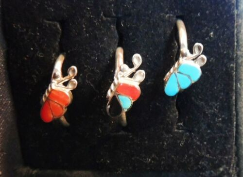 NATIVE AMERICAN ZUNI STERLING 925 BUTTERFLY Inlay Gemstone RINGS from NEW MEXICO