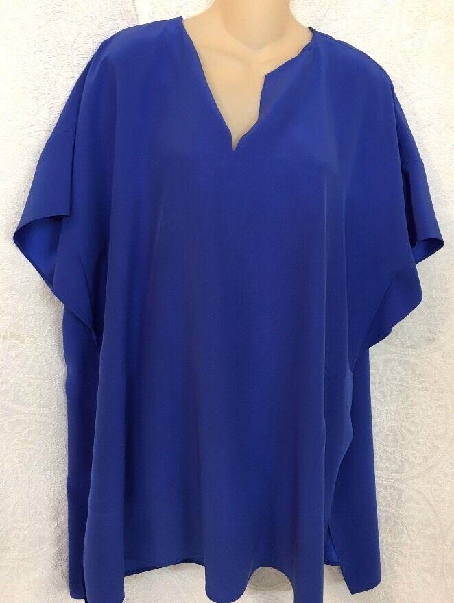 Lafayette Blouse Royal bluee Silk Short Sleeve Size Medium