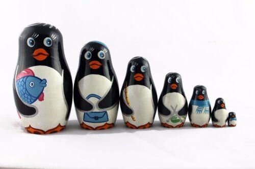 Matryoshka Russian Nesting Doll Babushka Beautiful Penguin Family Penguins 7 Pcs