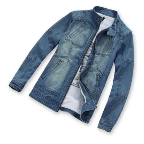 New Men/'s Classic Blue Jeans Jackets Casual Denim Outerwear 2019