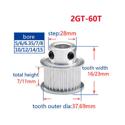 2GT 60T Timing Pulley 5-15mm Bore For 6//10mm Width Belt For 3D Printer Reprap