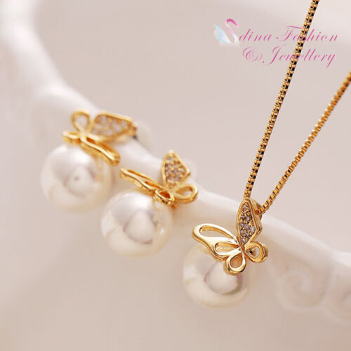 1 of 1 - 18K Yellow Gold Plated Simulated Pearl Stunning Butterfly Set Fashion Jewellery